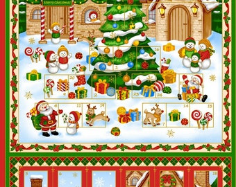 Christmas, Holiday Advent Calender cotton fabric Panel 24 in by 44 in