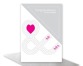 Congratulations on your wedding card Mr & Mrs card contemporary wedding wishes pink heart card for Bride and Groom add personalised message