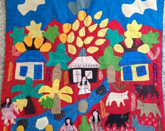 Hand Made Village Scene Wall Hanging or Pillow Case