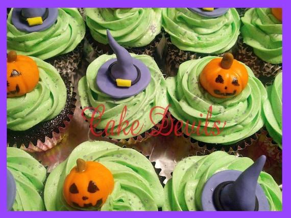 Halloween Cupcake Toppers Fondant Pumpkin Cupcake Toppers
