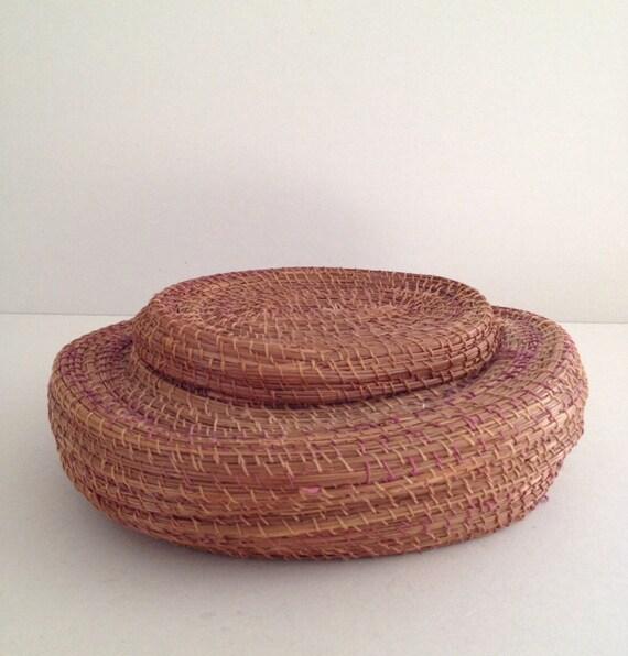 Handmade Baskets North Carolina : Vintage pine needle sewing basket and lid s handmade