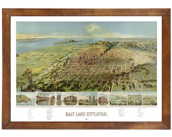 Salt Lake City, UT 1875 Bird's Eye View; 24x36 Print from a Vintage Lithograph