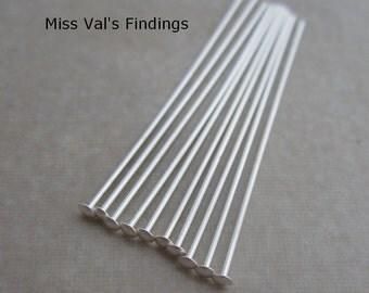 20 sterling silver 925 headpins 1.5 inch 22 gauge 1.75mm head