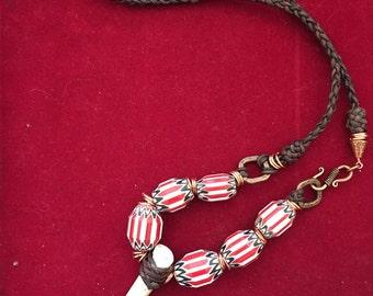 Braided leather chevron trade bead