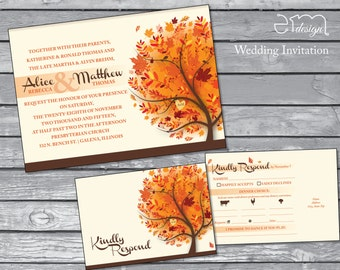 SALE: Autumn Wedding Invitation, Fall Wedding Invitation, Ivory Wedding Invitation, Leaves Wedding Invitation, Orange Wedding Invitation