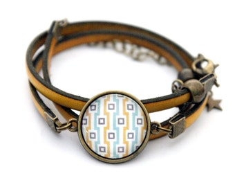 """Bracelet yellow leather 3 rounds with cabochon """"graphic yellow and turquoise squares"""" brass vintage"""
