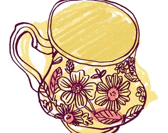 Tea Cup print in yellow and pink by Katy Dockrill for GoodWaterStudio, floral motif