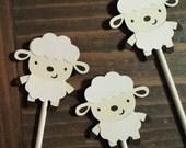 Sheep Baby Shower - Lamb Party - Lamb Cupcake Toppers- Lamb Decorations - Sheep Cupcake Toppers - Lamb Shower - 1 dozen