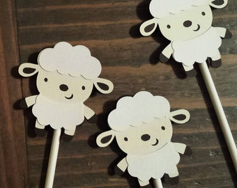 Lamb Party - Lamb Cupcake Toppers- 1 dozen lamb cupcake toppers - Lamb Decorations - Sheep Cupcake Toppers - Lamb Shower