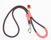 Rope dog leash. Chic Charcoal Gray climbing rope dog leash whipped with colorful Peach Pink cord. Rope Dog lead.