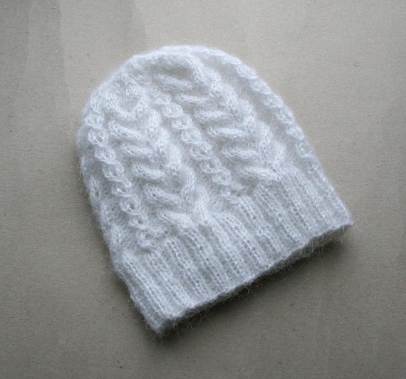 Wooly Hat Knitting Pattern : Knit white wool hat: Knit cable pattern hat White by MyKnitStudio