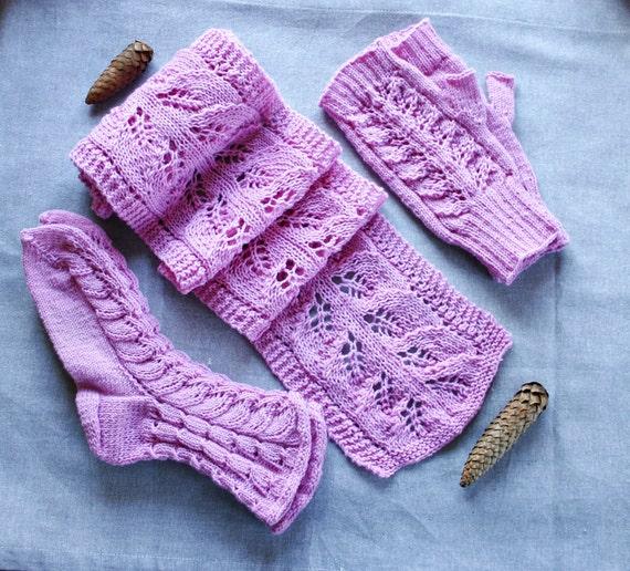 Knitting Patterns And Wool Sets : Knit scarf mittens socks set: Merino wool pink by MyKnitStudio