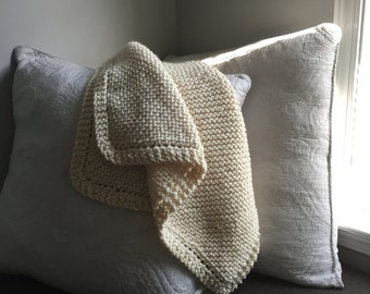 Hand Knit Chunky Baby Blanket