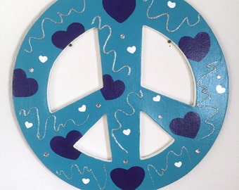 Painted Peace Sign, Peace Sign Art, Children's Room Decor, Wall Art