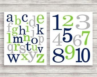 Navy Grey and Lime Green Printable Alphabet and Numbers Nursery Wall Décor, Printable Nursery Art, Alphabet Art, Baby Boy Room Decor Instant