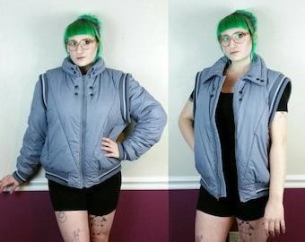 80s Puffer Jacket Detachable Sleeves, Vintage Puffy Vest Blue Gray, Convertible Jacket, Struggle Gear William Barry, Vegan Winter Coat