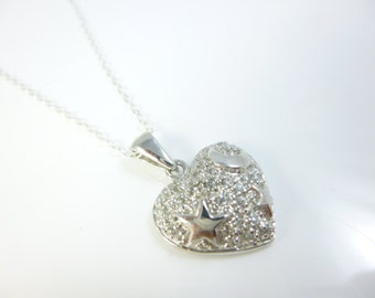 Sterling Silver Heart, Stars and Moon Pendant, Stars and Moon Charm, Moon Charm, Heart Pendant
