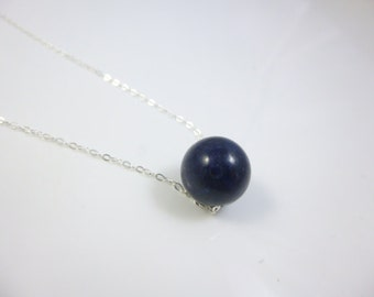 Single Bead Necklace, Floating  Lapis Lauli Necklace, Sterling Silver Chain Necklace