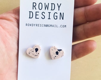 Heart Stud Earrings - Pastel Apricot with Black Speckle