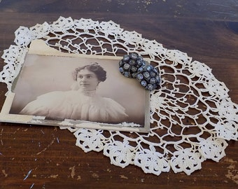 Antique Photograph, Vintage Photograph, Antique Crochet Doily, Vintage Crochet Doily, Antique Metal Rhinestone Beaded Buttons, Shabby Chic