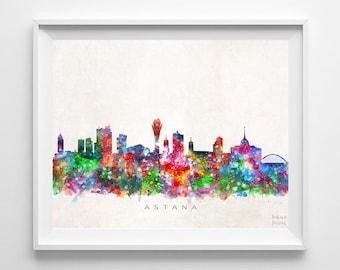 Astana Skyline Print, Kazakhstan Print, Astana Poster, Cityscape, Watercolor Painting, Wall Art, Dorm Room Decor, Back To School