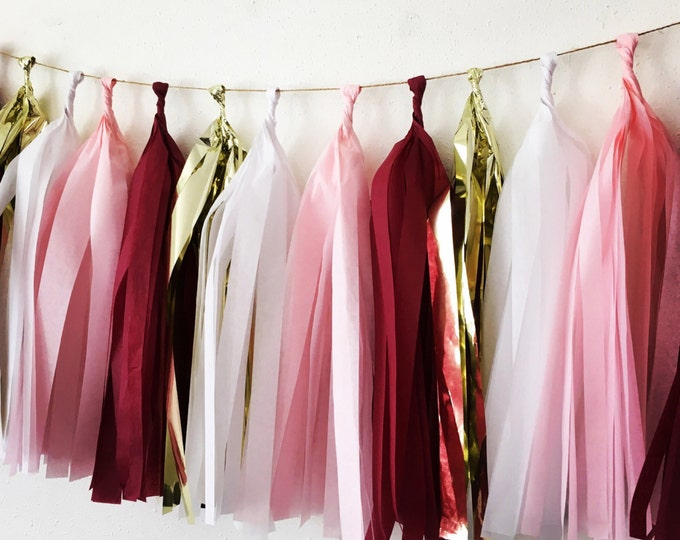 Burgundy tassel garland, Wine tassel Garland, Wine, Pink, White, and Metallic gold garland, Maroon Tassels