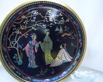 Vintage Asian Round Tray Metal Serving Geisha Ladies