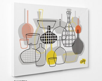 Bottles & Vases | Wall Art Canvas Print - Yellow-Orange