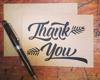 Leaf Calligraphy Thank You stationery pack