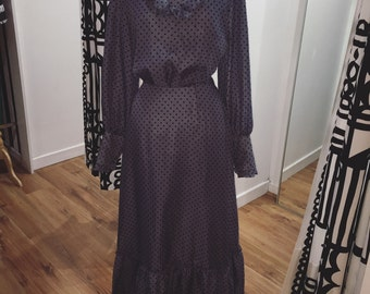 Blue-grey 70s Victoriana Style Flock Spotted Maxi Dress