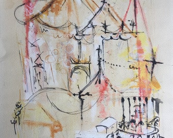 Vintage Circus Watercolor Dated 1956