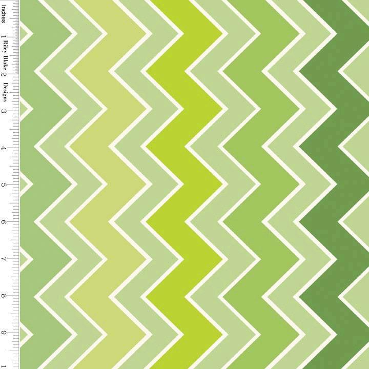 Green Chevron Fabric Riley Blake C780-07 Shaded Chevron