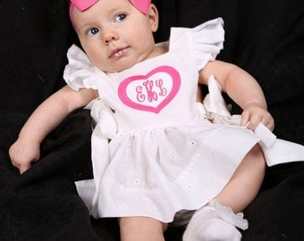 GIRL Pinafore Top - Baby/Toddler - CUSTOM - Monogram, Applique, Embroidery - White Eyelet - Side Tie - 0/3 Month to 12 years