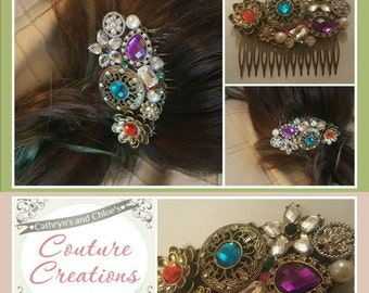Hair comb 'Couture Crown Jewels' Decorative Vintage Style Hair Comb