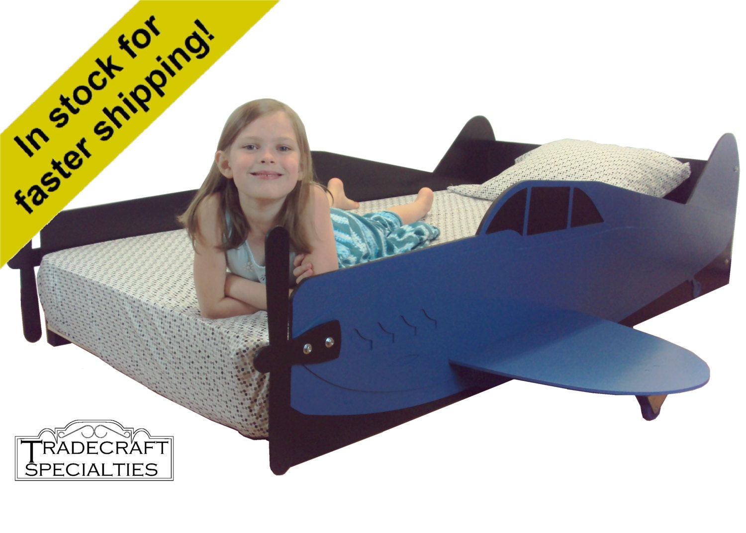 Airplane twin kids bed frame handcrafted aircraft themed for Airplane bed frame