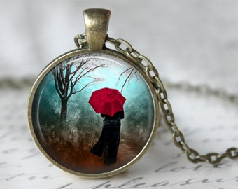 Umbrella necklace pendant jewelry art pendant rainy day 021