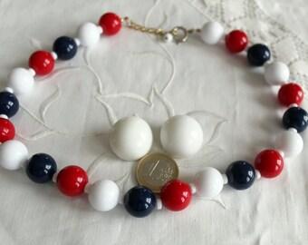 50s 60s pin up plastic rockabilly jewellery set necklace + earrings