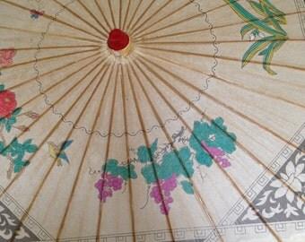 Vintage Paper Parasol  1950's Japanese Paper Parasol