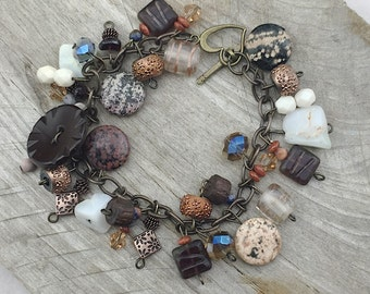 Beaded Charm Bracelet, Charm Bracelet, Gemstone Bracelet, Beaded Bracelet, Dangle Charm Bracelet, Chrysoprase Bracelet, Jasper Jewelry