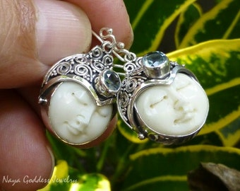 Silver and Blue Topaz Naya Goddess Earrings NG-1237