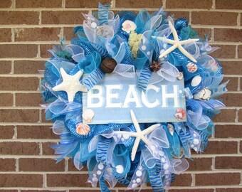 SALE! Ready to Ship!Summer Wreath, Summer Mesh Wreath,Summer Beach Wreath,Beach Wreath,Beach Mesh Wreath,Beach Door Wreath