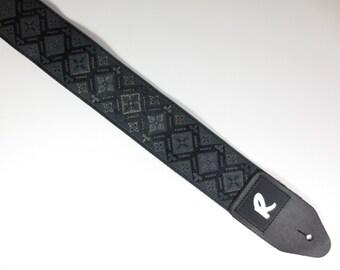 Vintage Black Guitar Strap - Woven Jacquard Ribbon