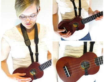 Black Ukulele Guitar Strap - Button Free - Universal strap