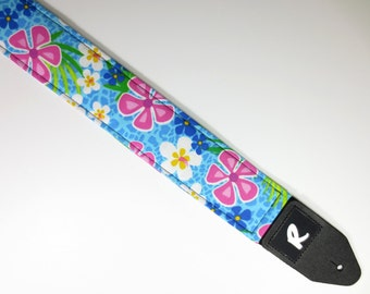 Hawaiian Flowers Guitar Strap - Tropical - Double Padded