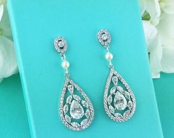 Bridal Earrings, Wedding Earrings, cubic zirconia earrings, bridal jewelry, wedding earrings, Savannah Pearl Earrings