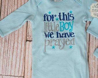 Blue Baby/Infant/Newborn Gown with For this little Boy We Have Prayed/ Embroidered/ Personalized Name Matching Knot Hat Set