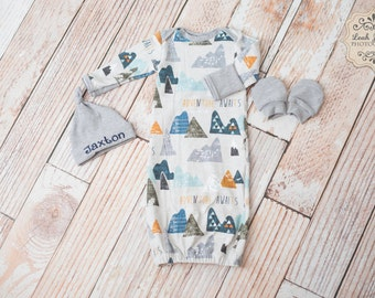 Adventure Awaits Mountain Outdoors Baby Gown with Personalized Grey Hat and Grey Mitts/ Clouds/ Camping/Baby Boy Shower gift or Home Coming