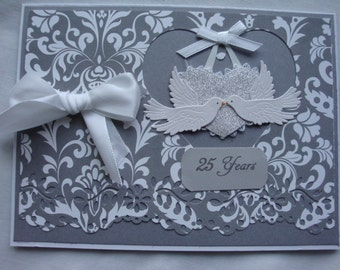 Anniversary Card, Silver Anniversary, Wedding Anniversary, Gray and white, 25 Years, doves, handmade, greeting cards