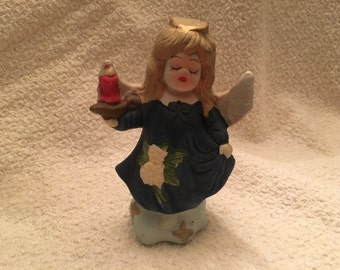Angel with Red Candle Lamp, Angel with Lantern, Porcelain Angel, Ceramic Angel, Blue Dress, Albert Price Products, Japan, Albert Price Angel