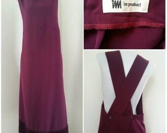 Free Shipping! VTG Issey IM Maroon Avant Garde Wide Strap Hi Waistbd  Jumper Dress / Japan Apron Association
